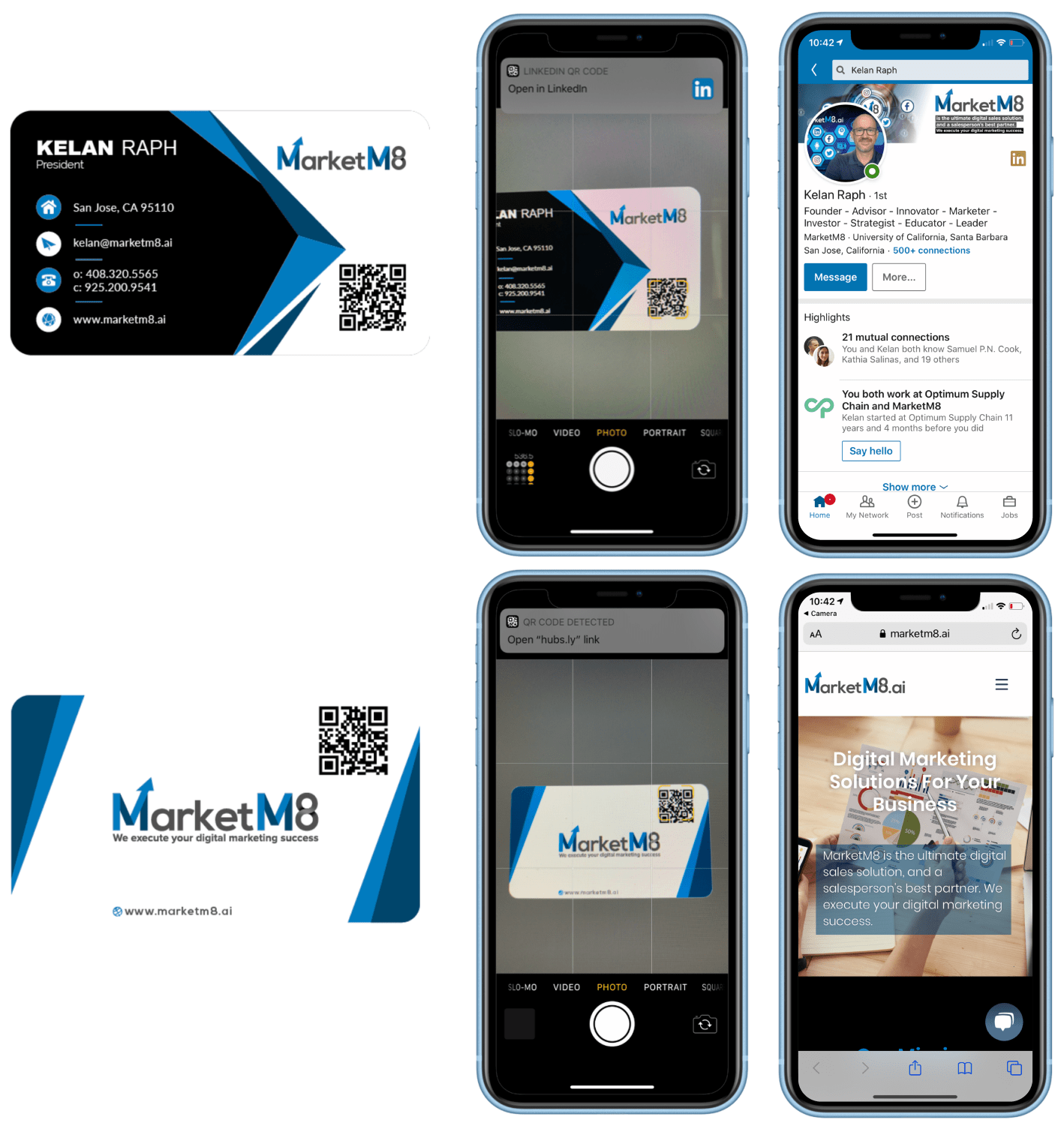 MarketM8 business card scannin process and end result